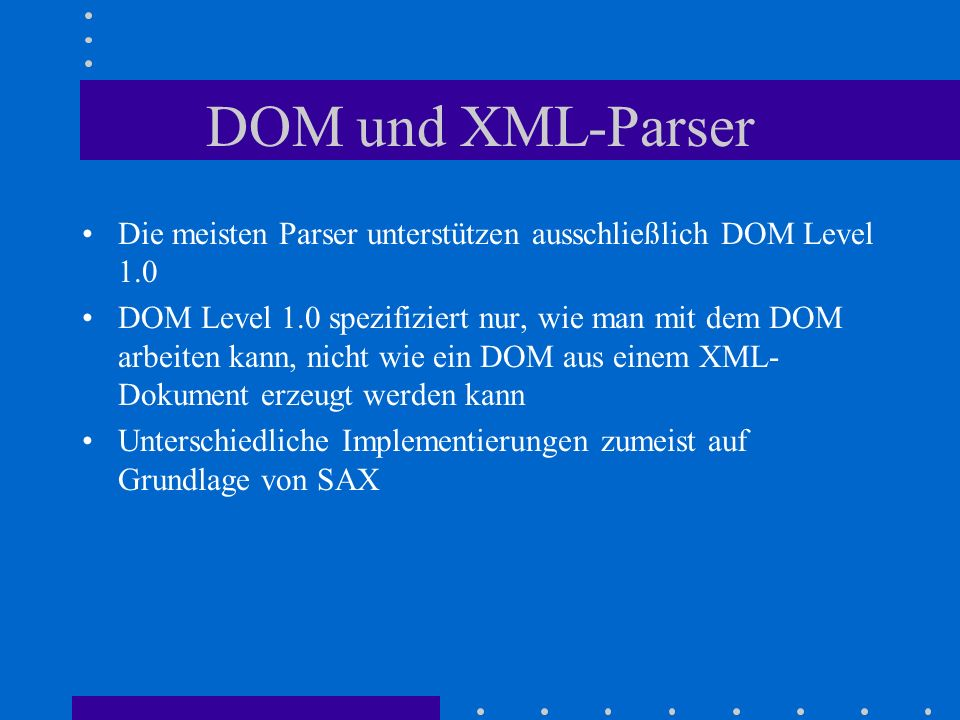 about dom in xml Extracting data from xml  document object model (dom) tree stored internally as c, or as regular r objects use xpath to query nodes of interest, extract info.