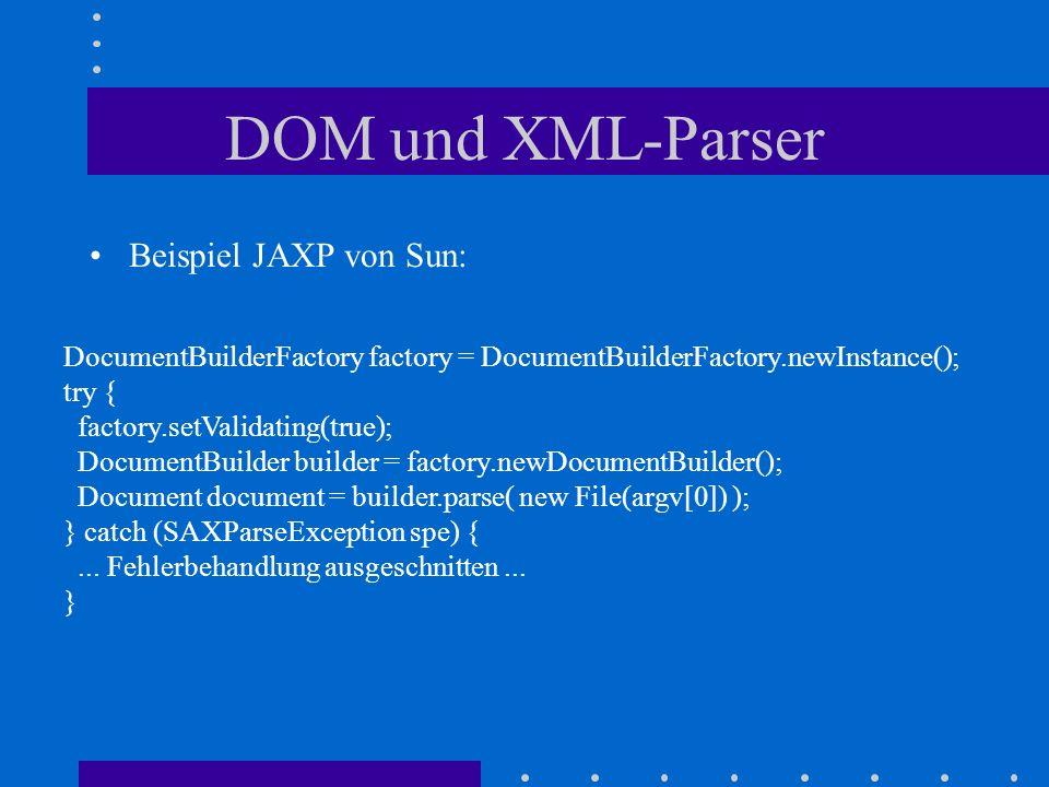 DOM und XML-Parser Beispiel JAXP von Sun: