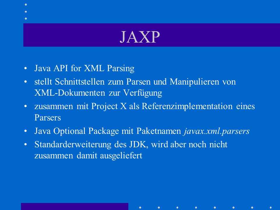 JAXP Java API for XML Parsing