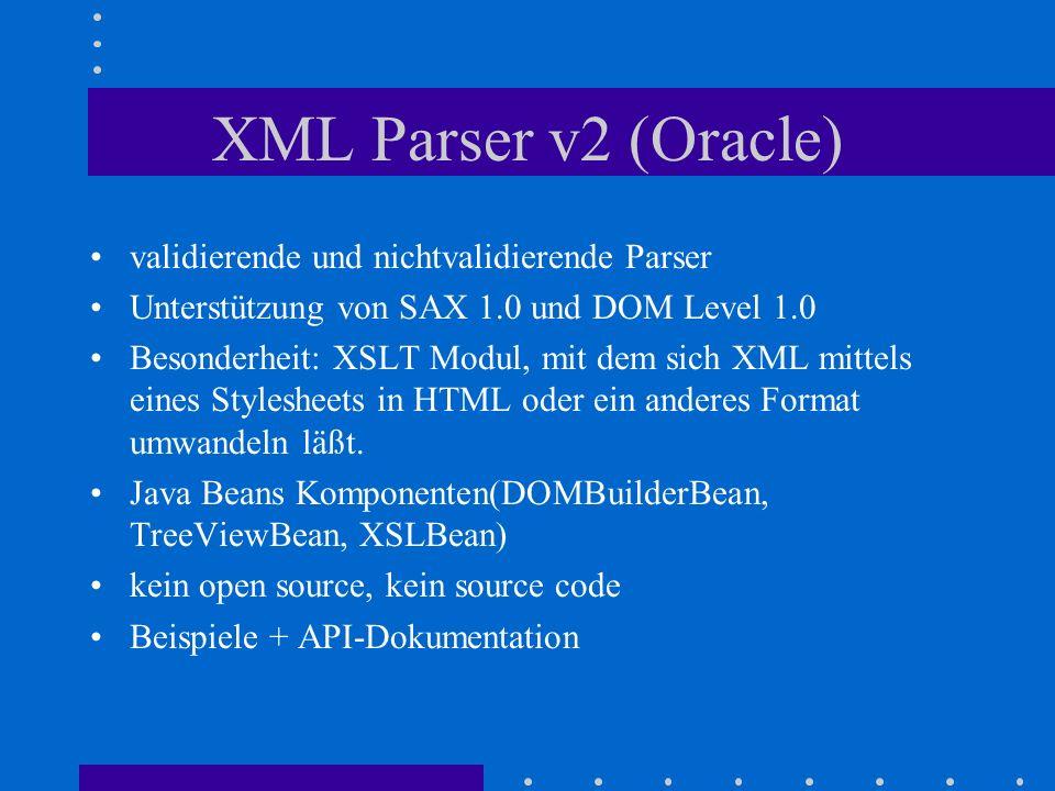 XML Parser v2 (Oracle) validierende und nichtvalidierende Parser