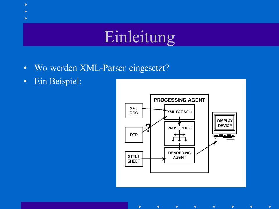 Einleitung Wo werden XML-Parser eingesetzt Ein Beispiel: