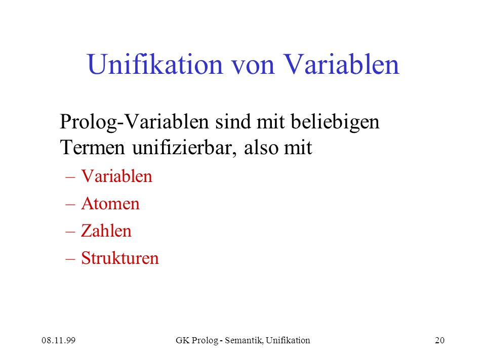 Unifikation von Variablen