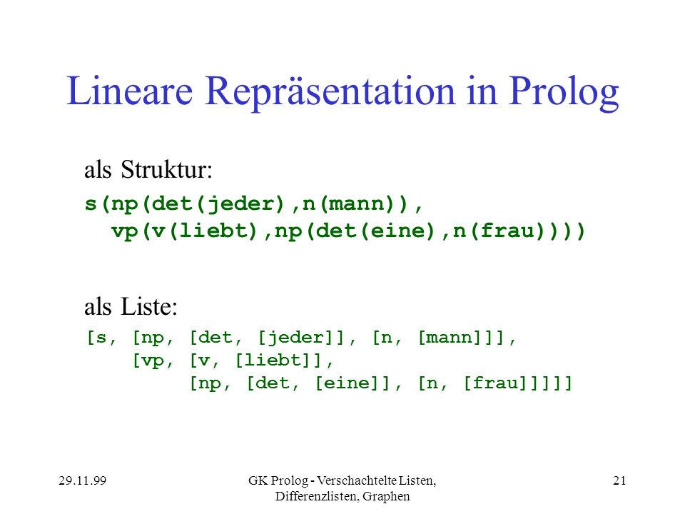 Lineare Repräsentation in Prolog