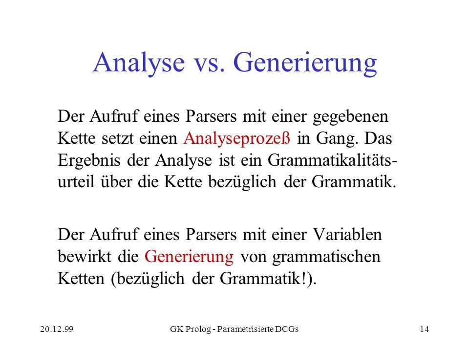 Analyse vs. Generierung