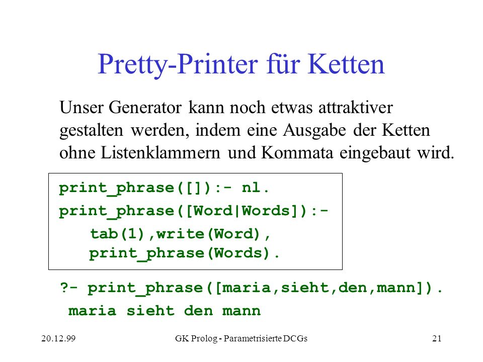 Pretty-Printer für Ketten