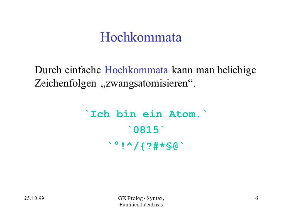 GK Prolog - Syntax, Familiendatenbasis