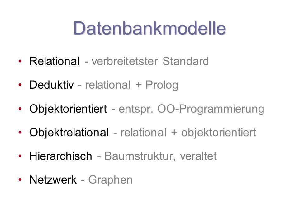 Datenbankmodelle Relational - verbreitetster Standard