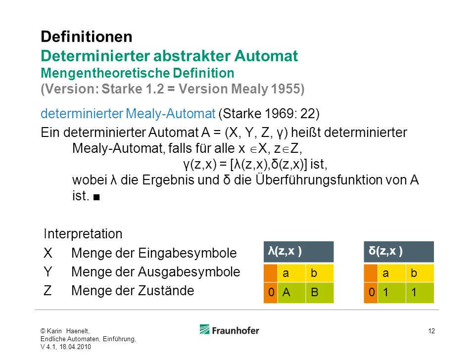Definitionen Determinierter abstrakter Automat Mengentheoretische Definition (Version: Starke 1.2 = Version Mealy 1955)