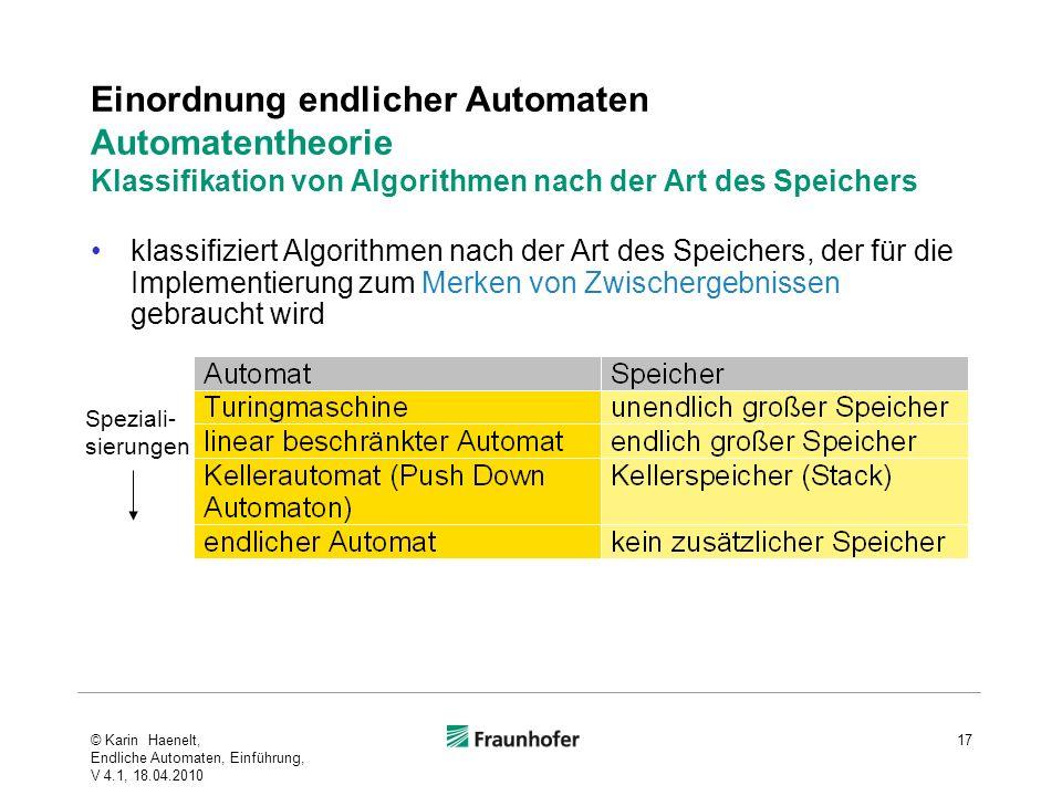 Einordnung endlicher Automaten Automatentheorie Klassifikation von Algorithmen nach der Art des Speichers