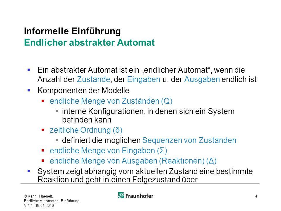 Informelle Einführung Endlicher abstrakter Automat