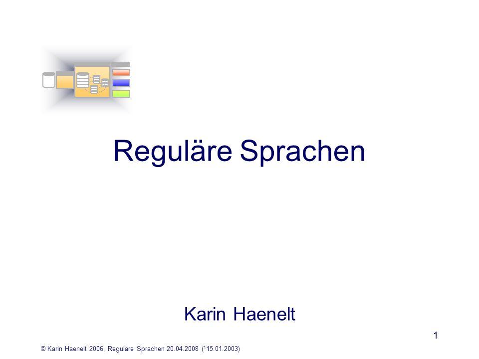 Reguläre Sprachen Karin Haenelt