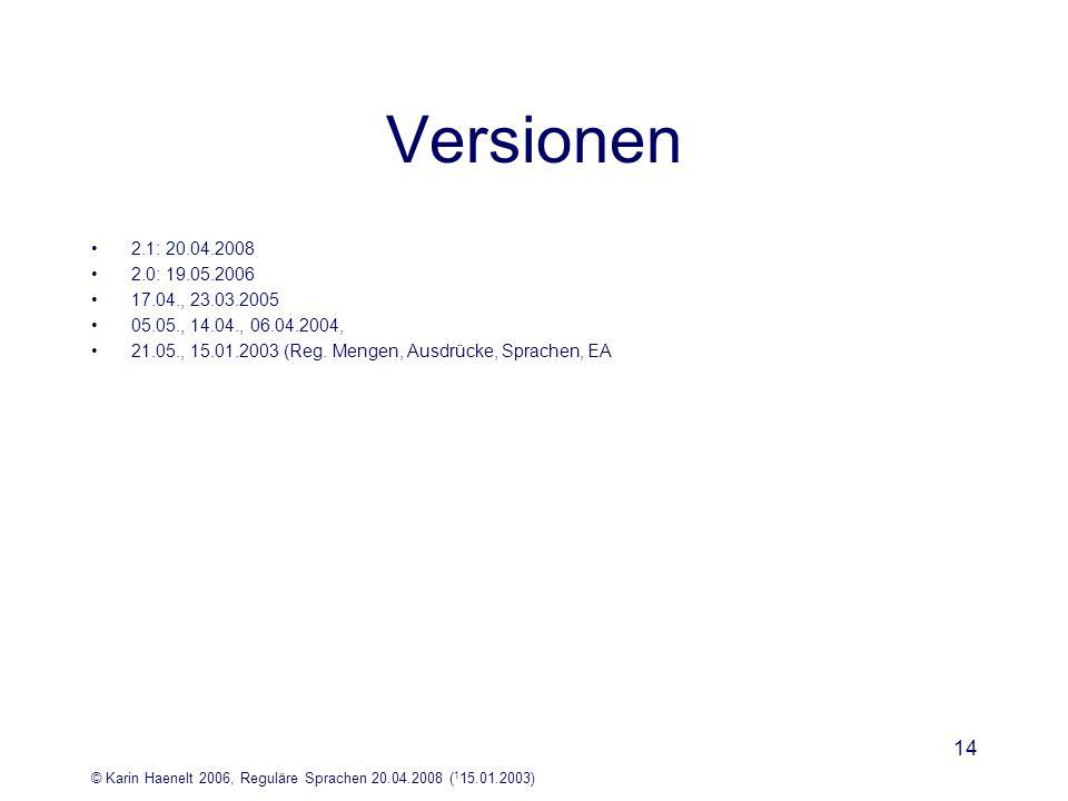 Versionen 2.1: 20.04.2008. 2.0: 19.05.2006. 17.04., 23.03.2005. 05.05., 14.04., 06.04.2004,