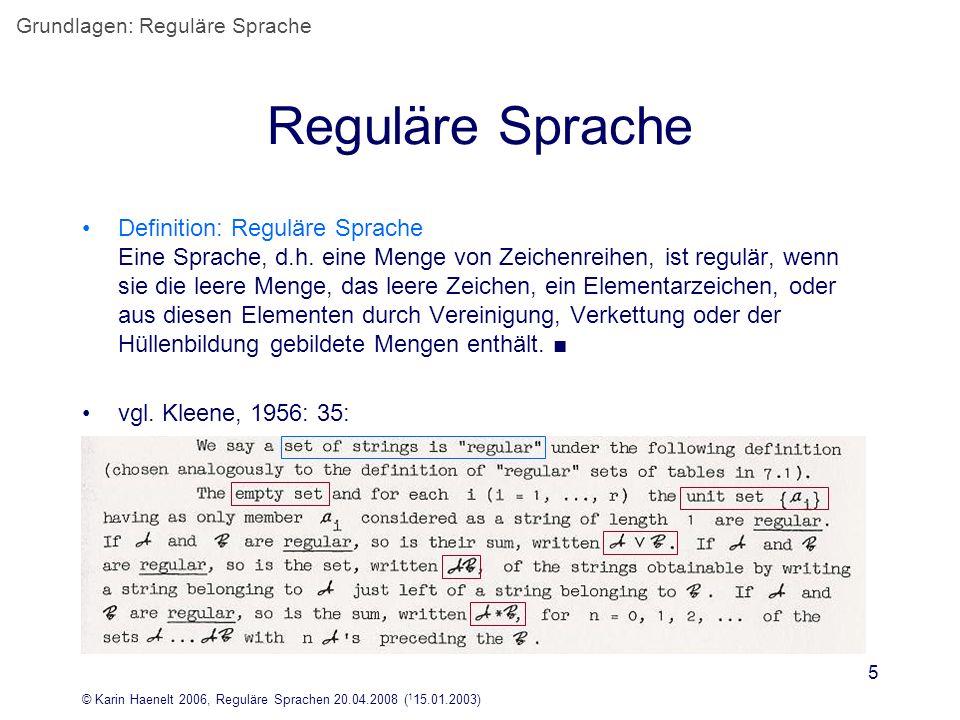 Grundlagen: Reguläre Sprache
