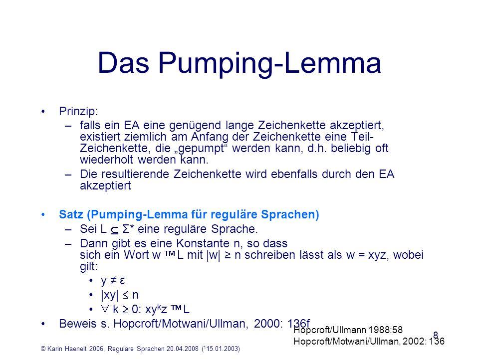 Das Pumping-Lemma Prinzip: