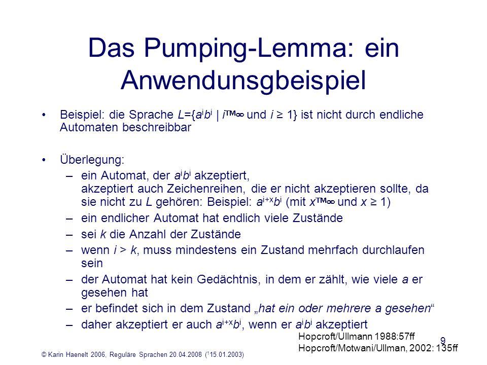 Das Pumping-Lemma: ein Anwendunsgbeispiel