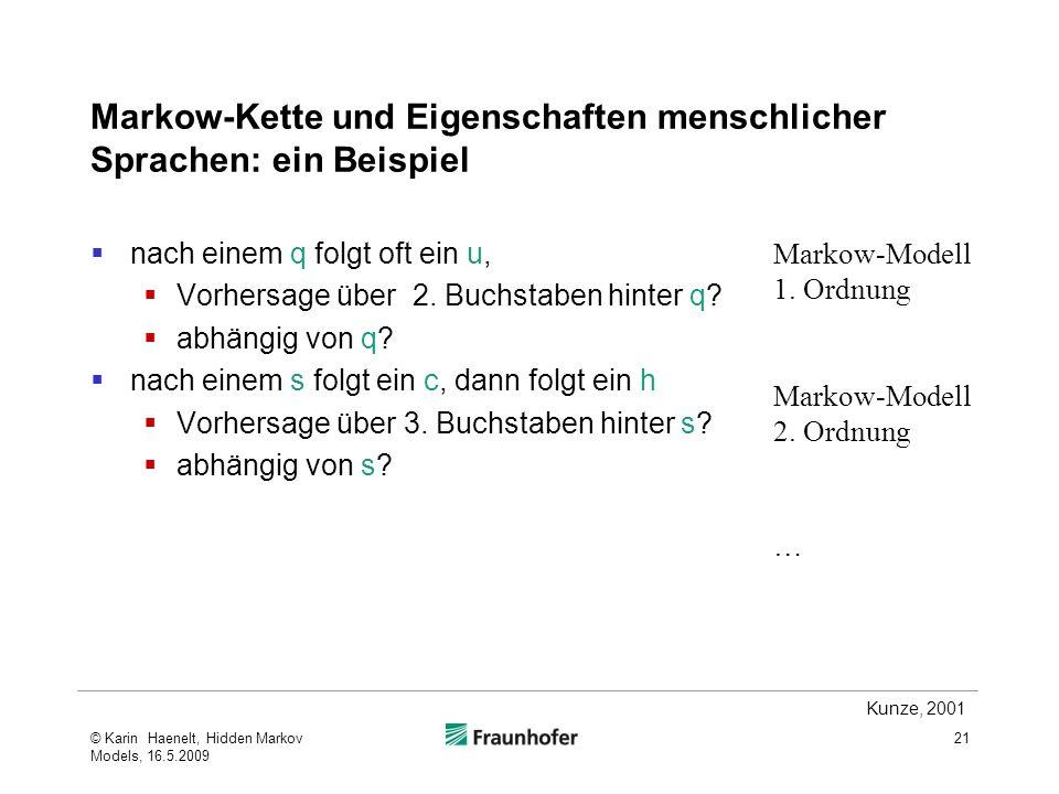 Markow-Kette und Eigenschaften menschlicher Sprachen: ein Beispiel
