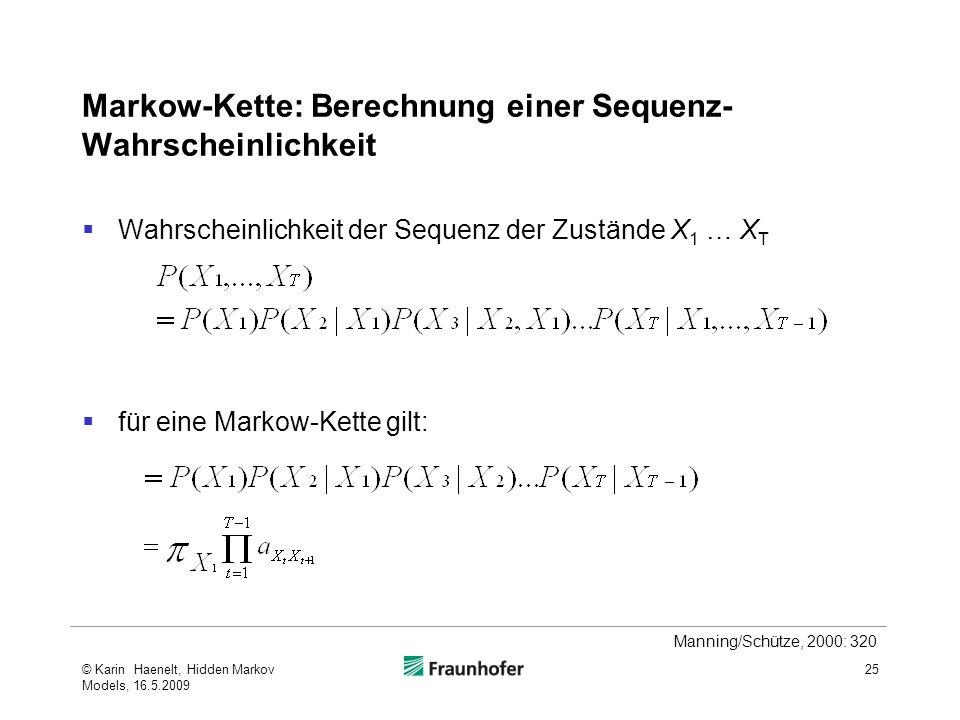 Markow-Kette: Berechnung einer Sequenz-Wahrscheinlichkeit