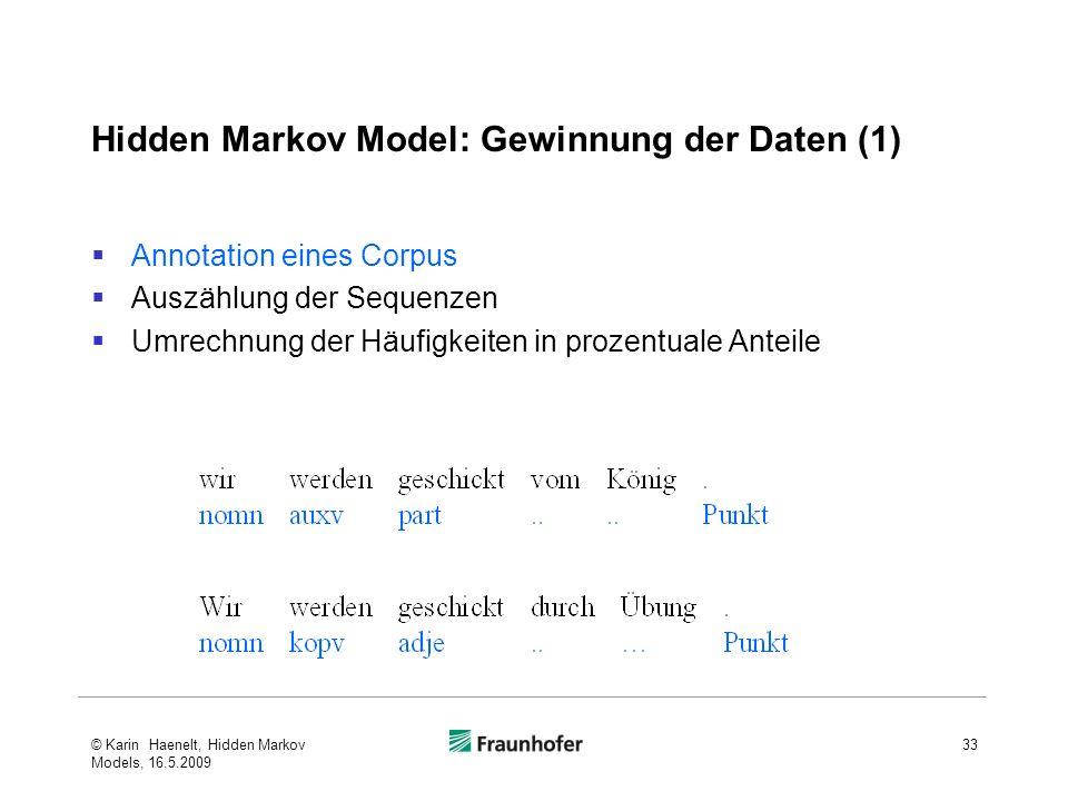 Hidden Markov Model: Gewinnung der Daten (1)