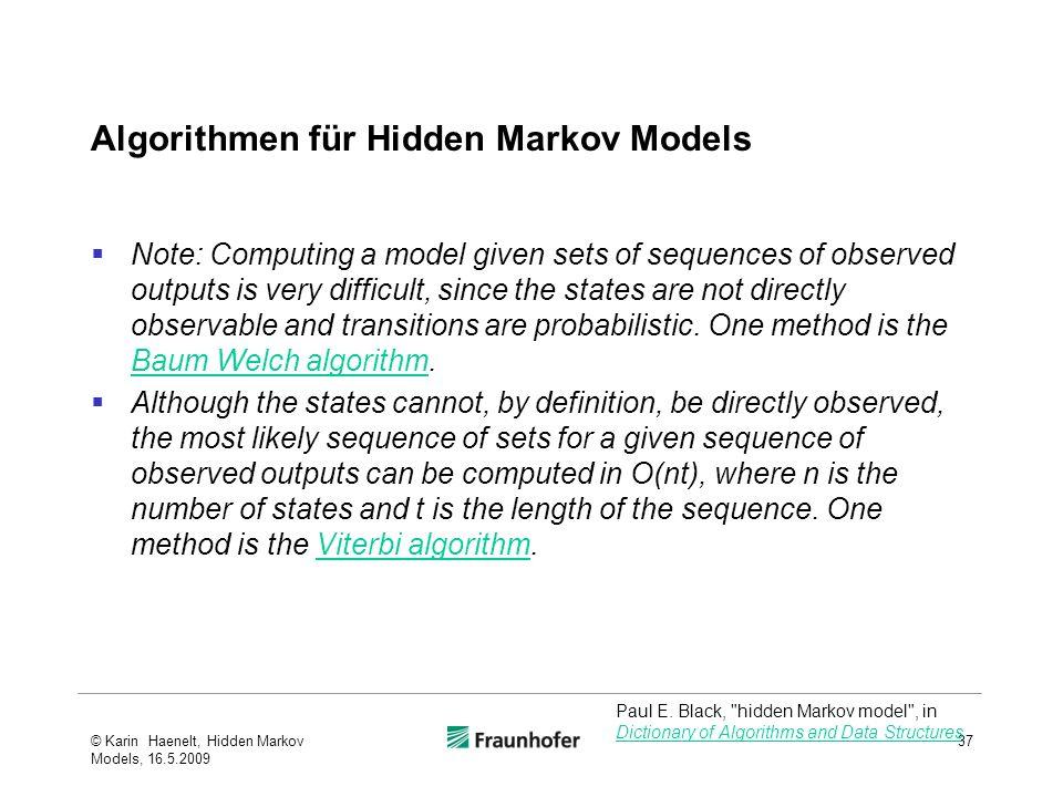 Algorithmen für Hidden Markov Models