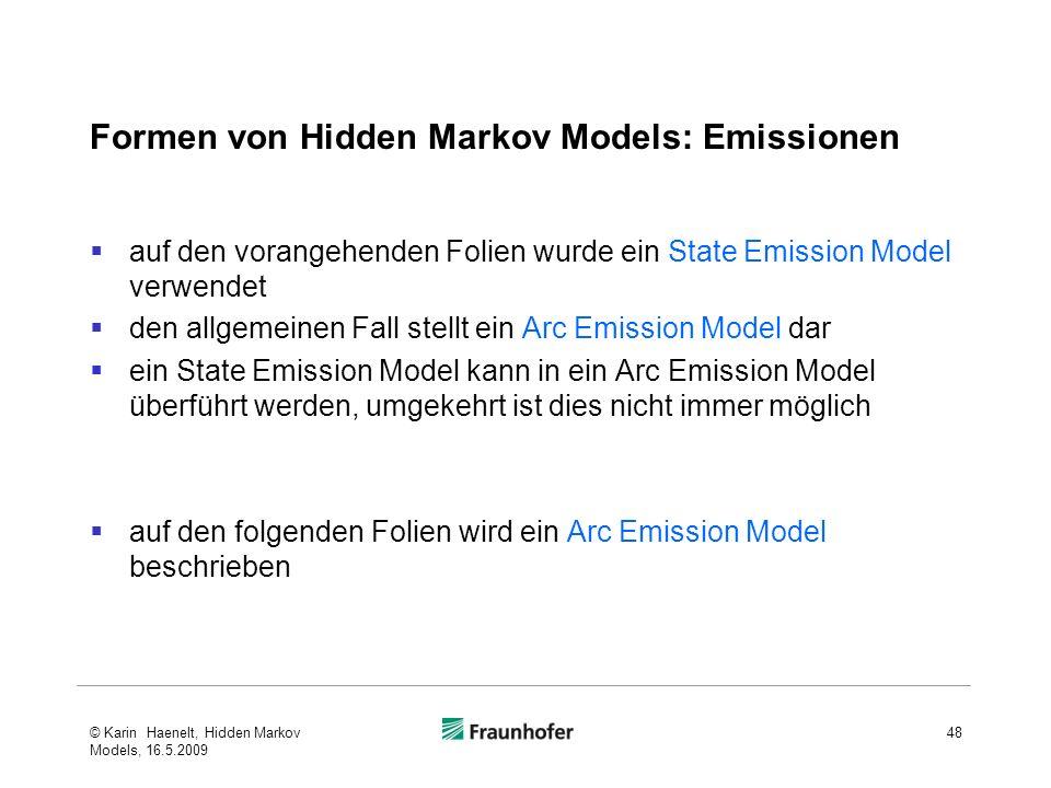 Formen von Hidden Markov Models: Emissionen