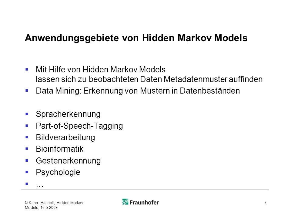 Anwendungsgebiete von Hidden Markov Models