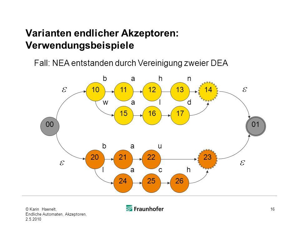 Varianten endlicher Akzeptoren: Verwendungsbeispiele