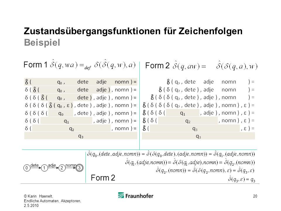 Zustandsübergangsfunktionen für Zeichenfolgen Beispiel
