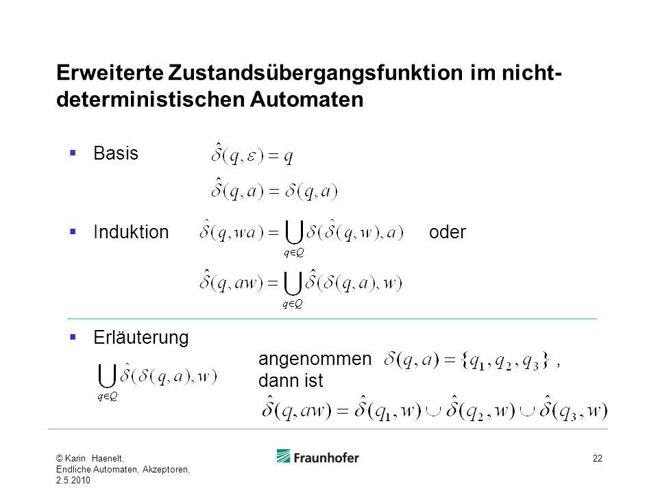 Erweiterte Zustandsübergangsfunktion im nicht-deterministischen Automaten