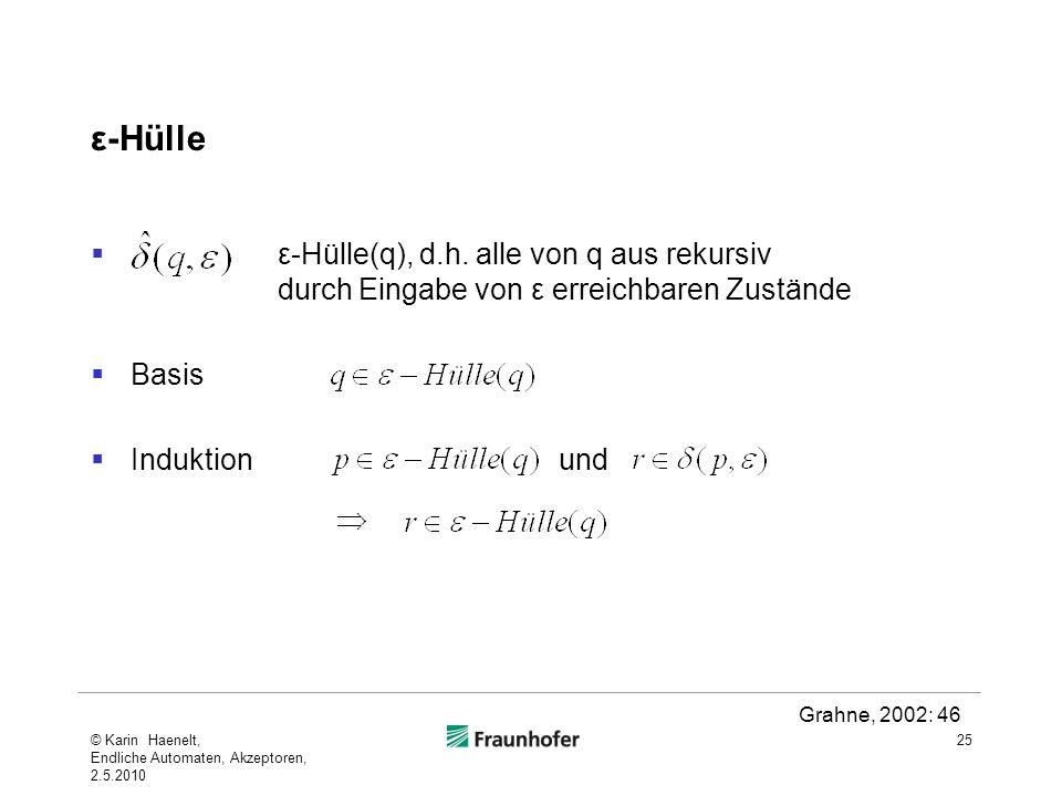 ε-Hülle ε-Hülle(q), d.h. alle von q aus rekursiv durch Eingabe von ε erreichbaren Zustände.