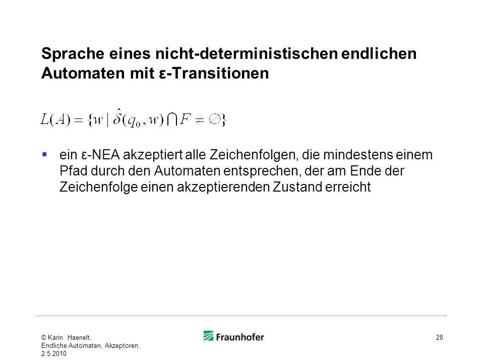 Sprache eines nicht-deterministischen endlichen Automaten mit ε-Transitionen