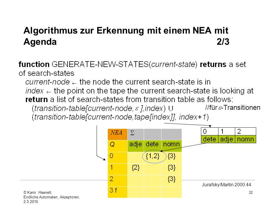 Algorithmus zur Erkennung mit einem NEA mit Agenda 2/3
