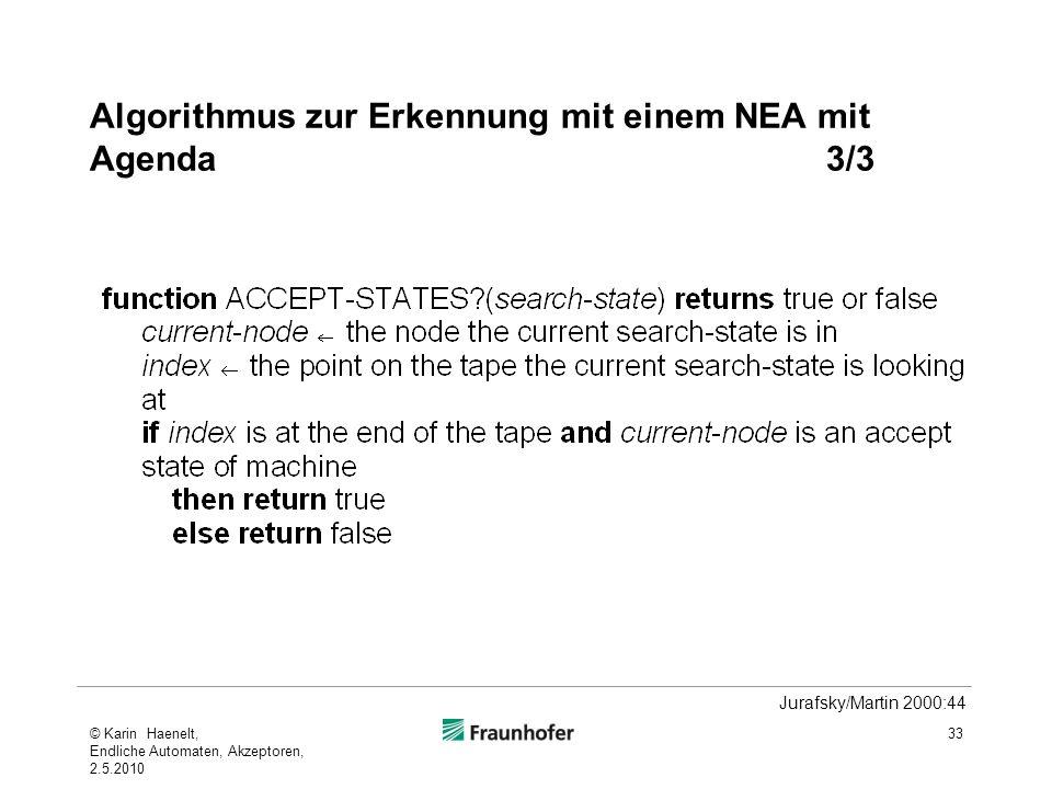 Algorithmus zur Erkennung mit einem NEA mit Agenda 3/3