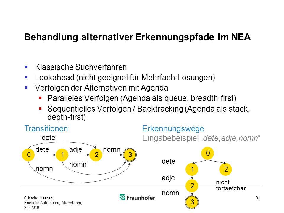 Behandlung alternativer Erkennungspfade im NEA