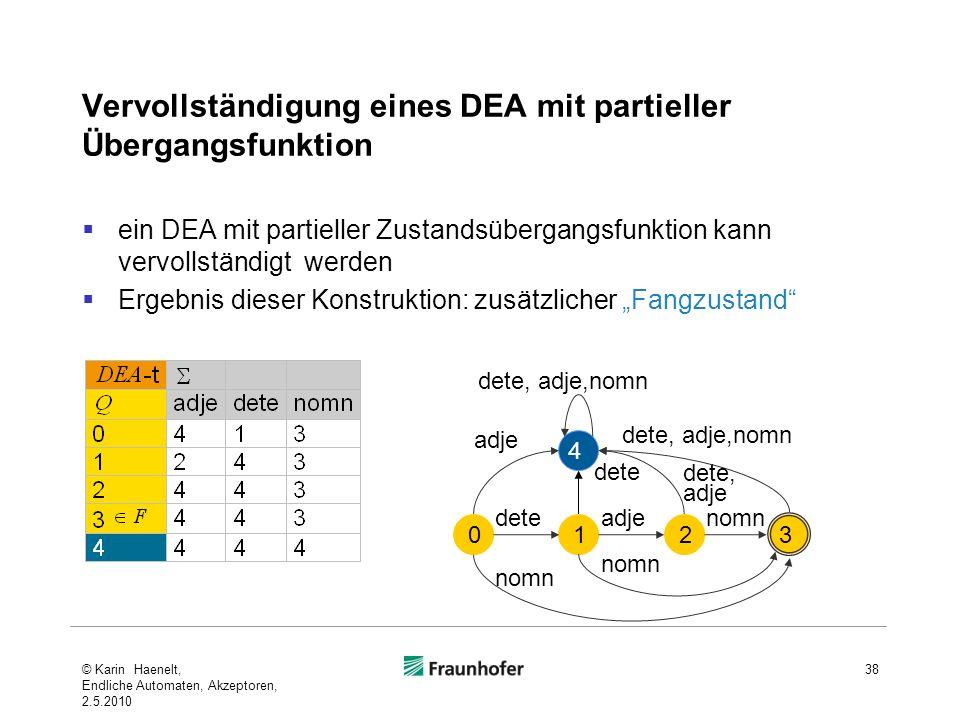 Vervollständigung eines DEA mit partieller Übergangsfunktion