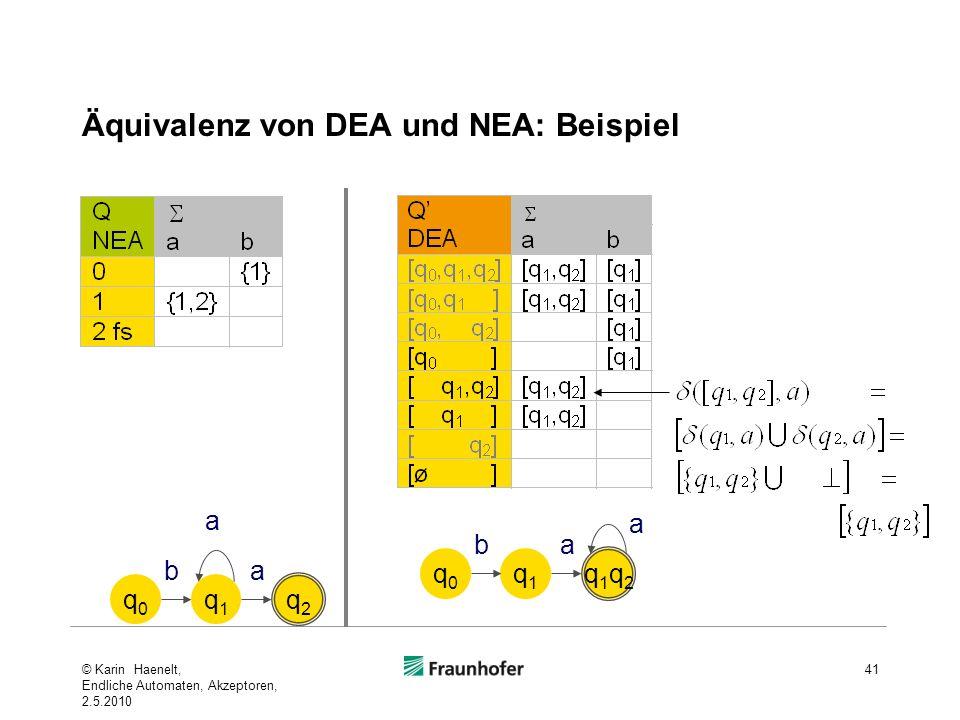 Äquivalenz von DEA und NEA: Beispiel