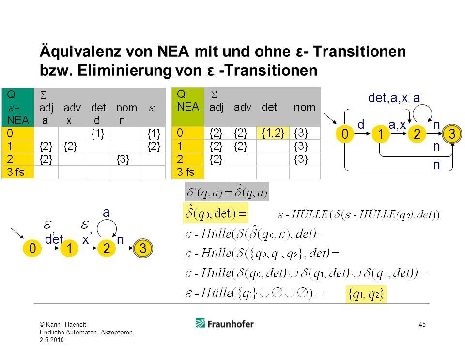 Äquivalenz von NEA mit und ohne ε- Transitionen bzw