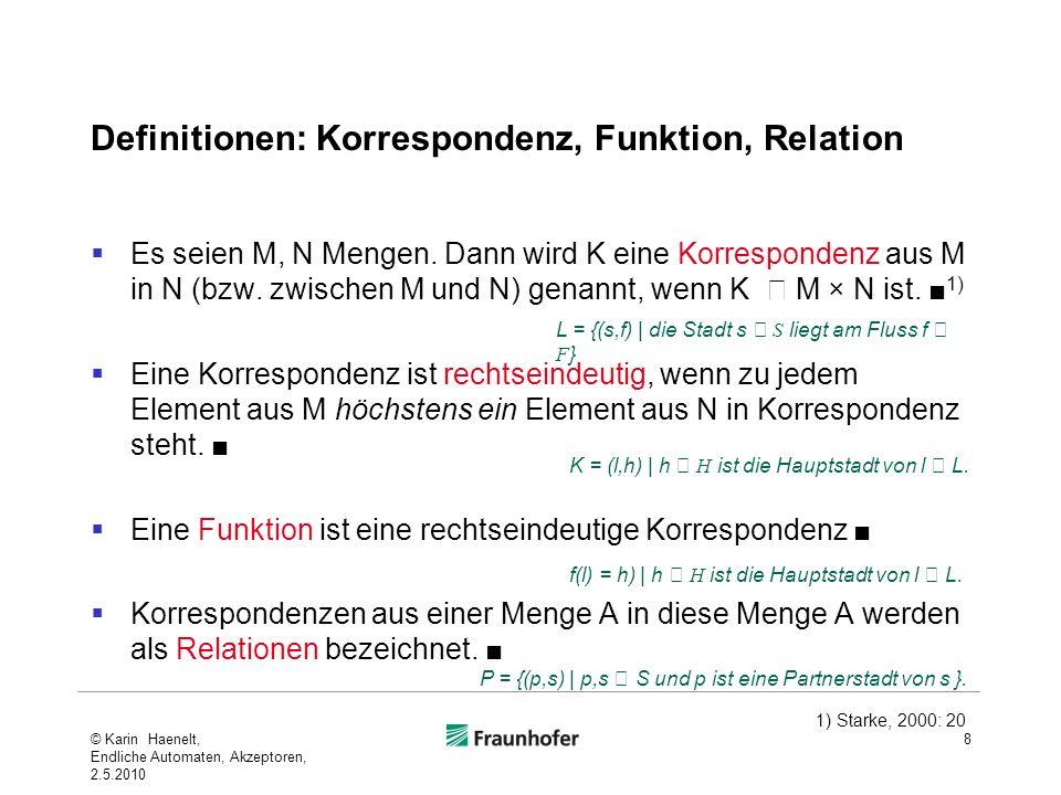 Definitionen: Korrespondenz, Funktion, Relation