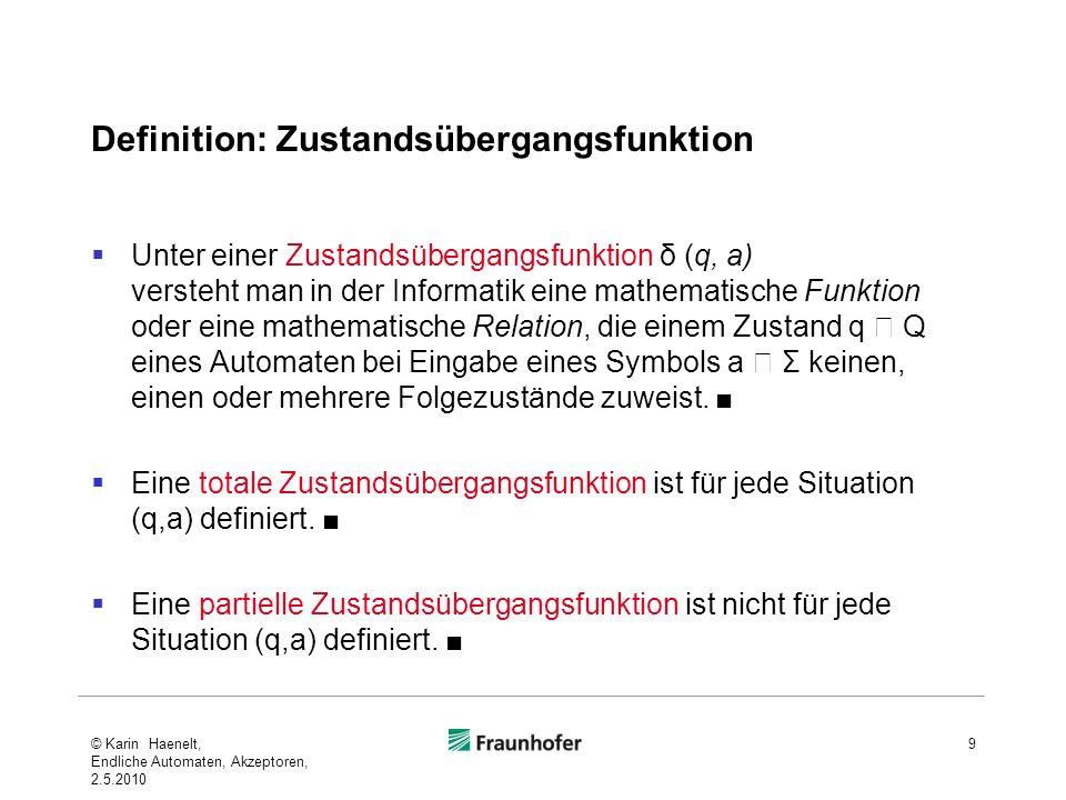 Definition: Zustandsübergangsfunktion