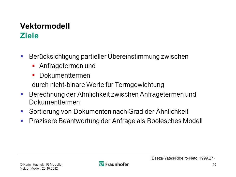 Vektormodell Ziele Berücksichtigung partieller Übereinstimmung zwischen. Anfragetermen und. Dokumenttermen.