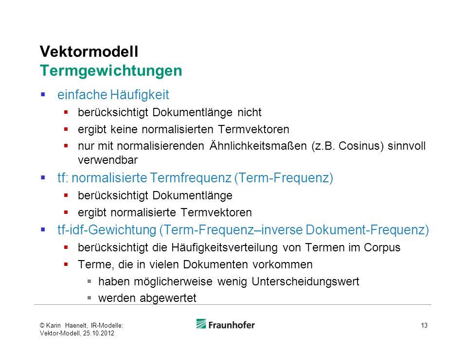 Vektormodell Termgewichtungen