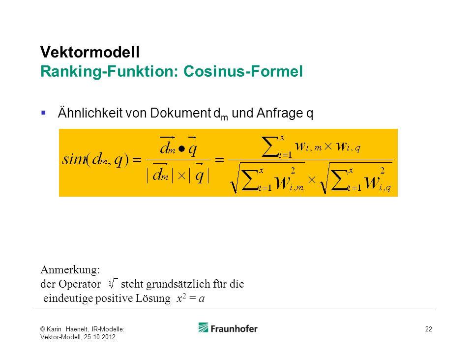 Vektormodell Ranking-Funktion: Cosinus-Formel