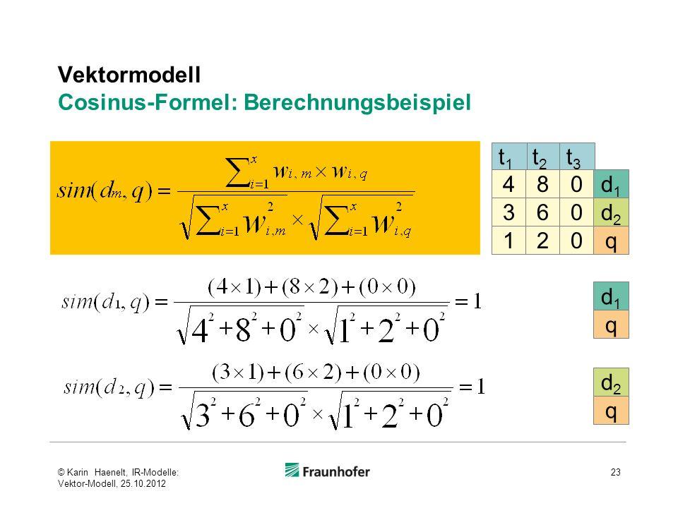 Vektormodell Cosinus-Formel: Berechnungsbeispiel