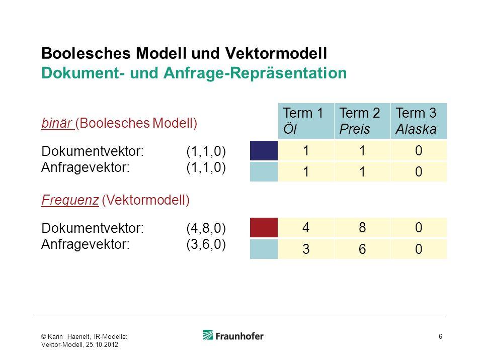 Boolesches Modell und Vektormodell Dokument- und Anfrage-Repräsentation