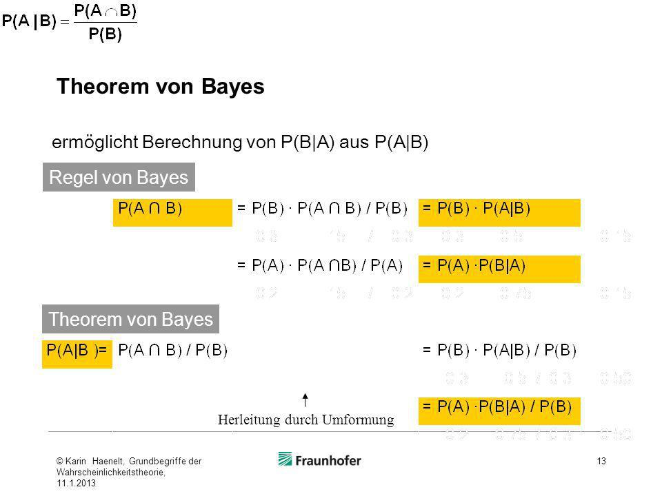 Theorem von Bayes ermöglicht Berechnung von P(B|A) aus P(A|B)