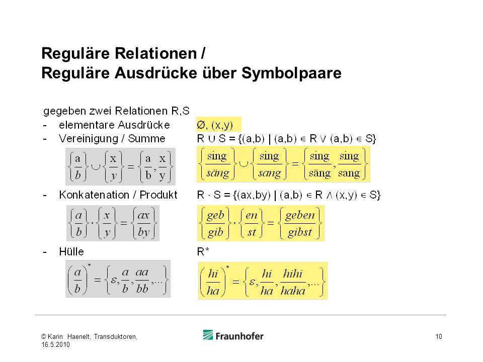 Reguläre Relationen / Reguläre Ausdrücke über Symbolpaare