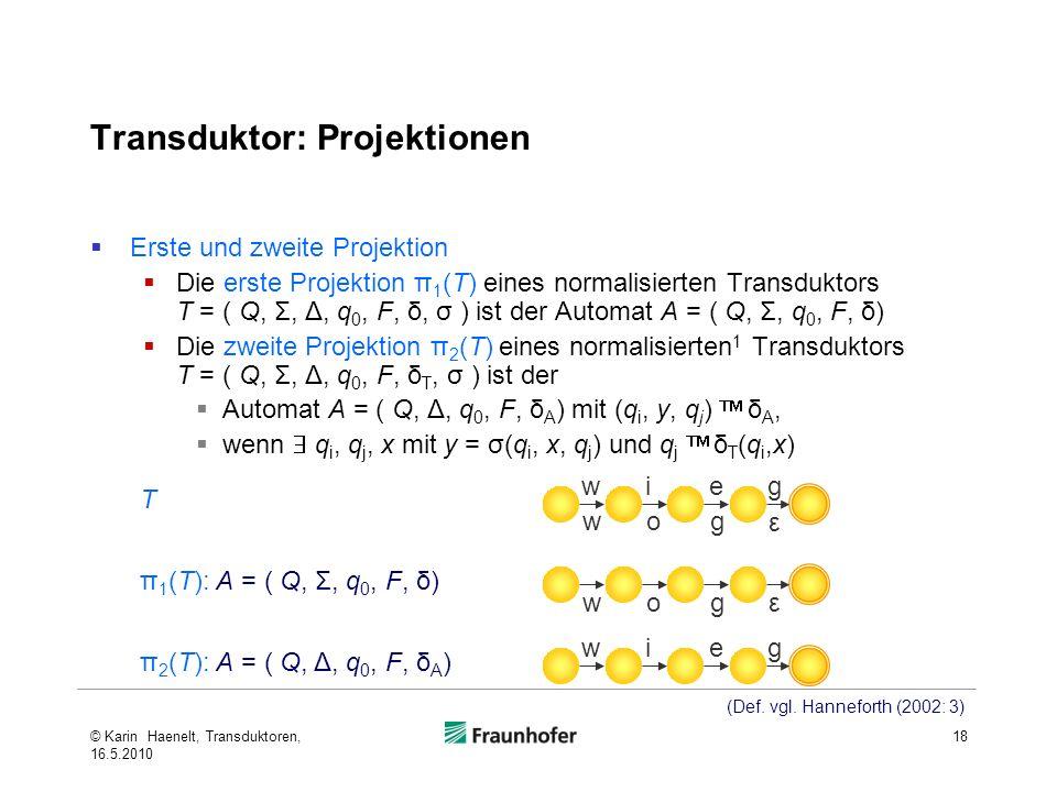 Transduktor: Projektionen