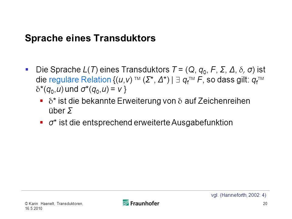 Sprache eines Transduktors