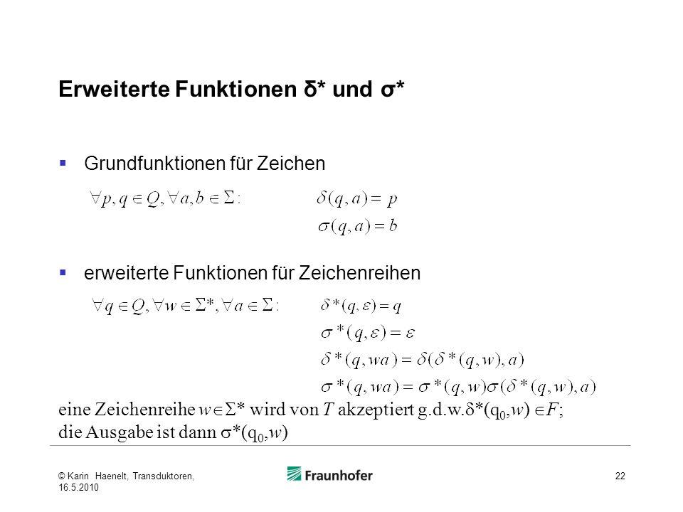 Erweiterte Funktionen δ* und σ*