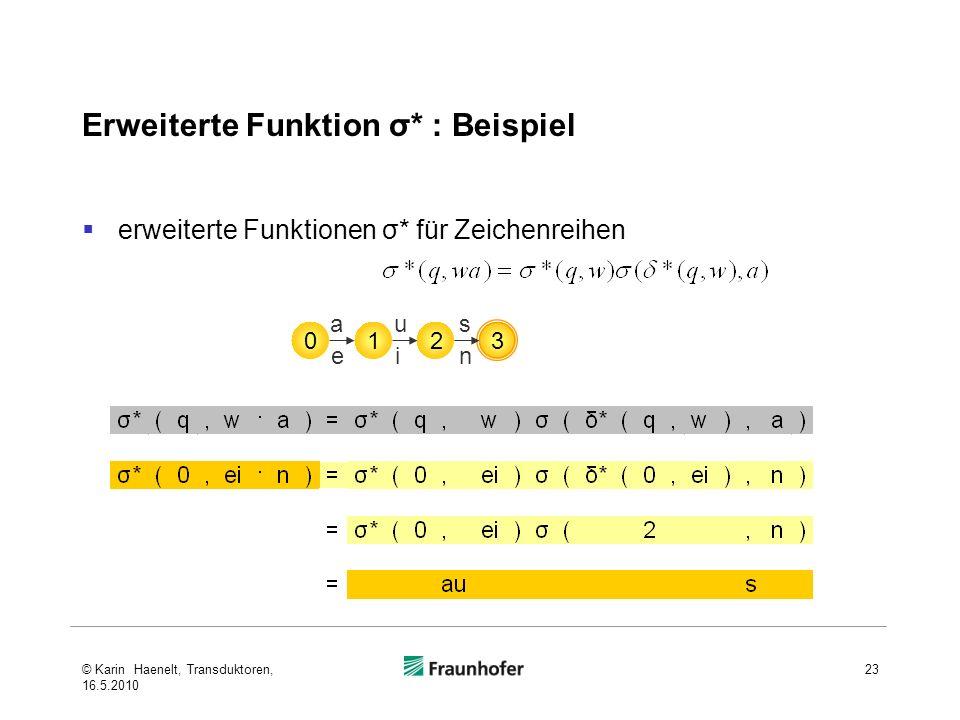 Erweiterte Funktion σ* : Beispiel