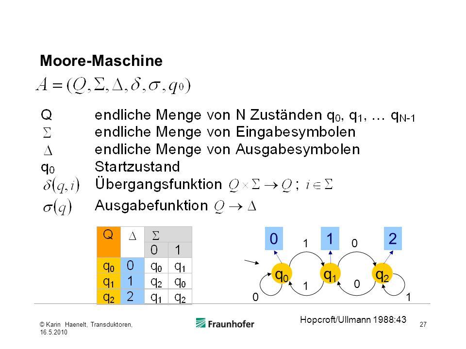 Moore-Maschine 1 2 q0 q1 q2 1 1 1 Hopcroft/Ullmann 1988:43